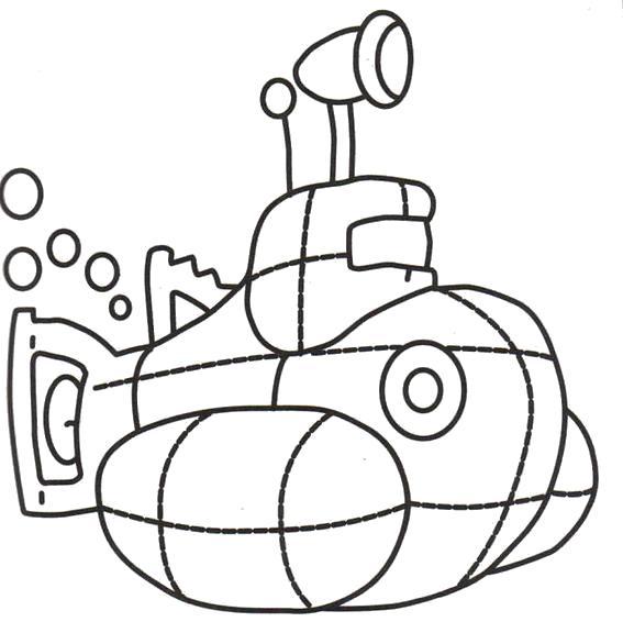 Раскраска Подводная лодка. Скачать Транспорт.  Распечатать Транспорт