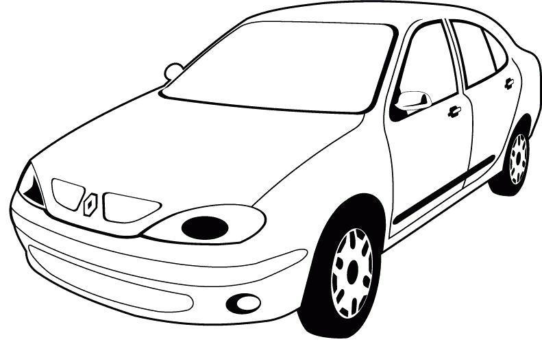 Раскраска Картинка  машины РЕНО. Скачать Машины.  Распечатать Машины
