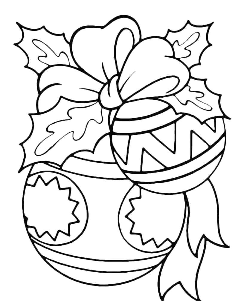 Раскраска Красивый шарик елочный. Скачать Елочные игрушки.  Распечатать Новый год