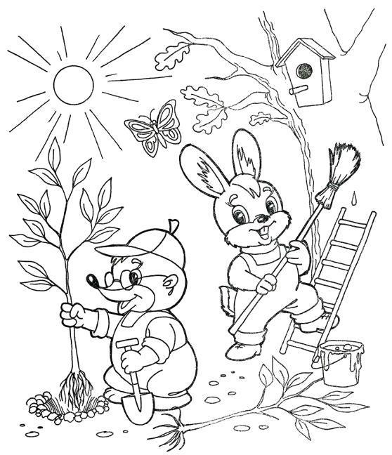 Раскраска Время года, весна, тепло, прилетают птицы, енот сажает дерево, заяц убирает листву. Скачать Весна.  Распечатать Весна