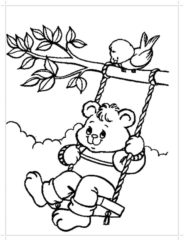 Раскраска Медвежонок на качелях . Скачать .  Распечатать
