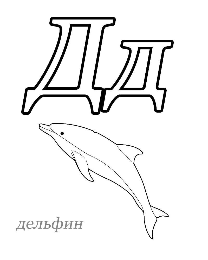 Раскраска Буква Д, Дельфин. Скачать Азбука.  Распечатать Азбука