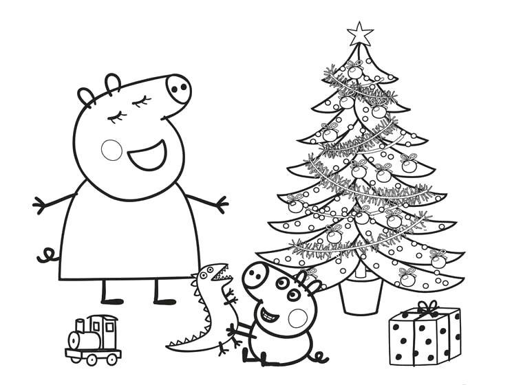 Раскраска Новый Год. Скачать Свинка Пеппа.  Распечатать Свинка Пеппа