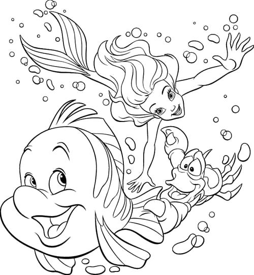 Раскраска  Ариэль, Флаундэр и Себастьян. Скачать Ариэль.  Распечатать Ариэль