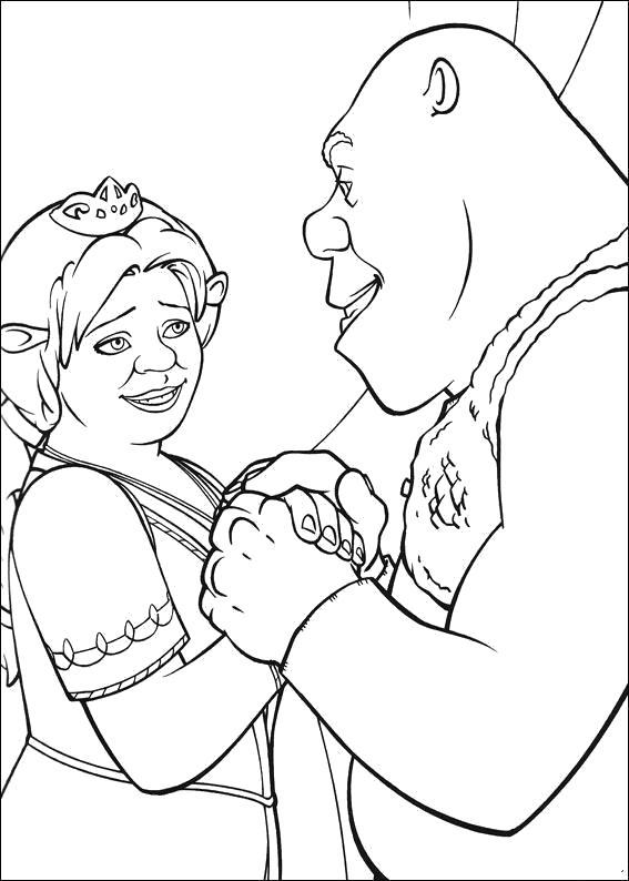Раскраска Шрек и принцесса Фиона . Скачать шрек.  Распечатать шрек