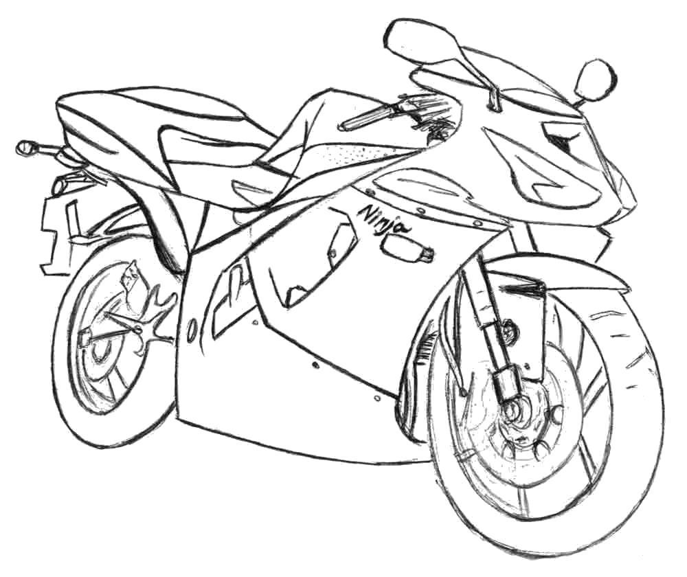Раскраска Красивый мотоцикл. Скачать .  Распечатать