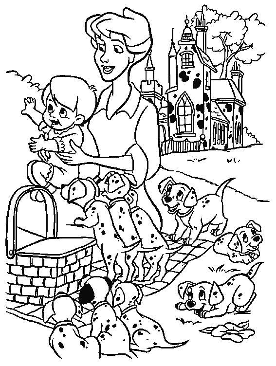 Раскраска Отличный пикник.  101 Далматинец, семья, мама и сын, . Скачать 101 далматинец.  Распечатать 101 далматинец