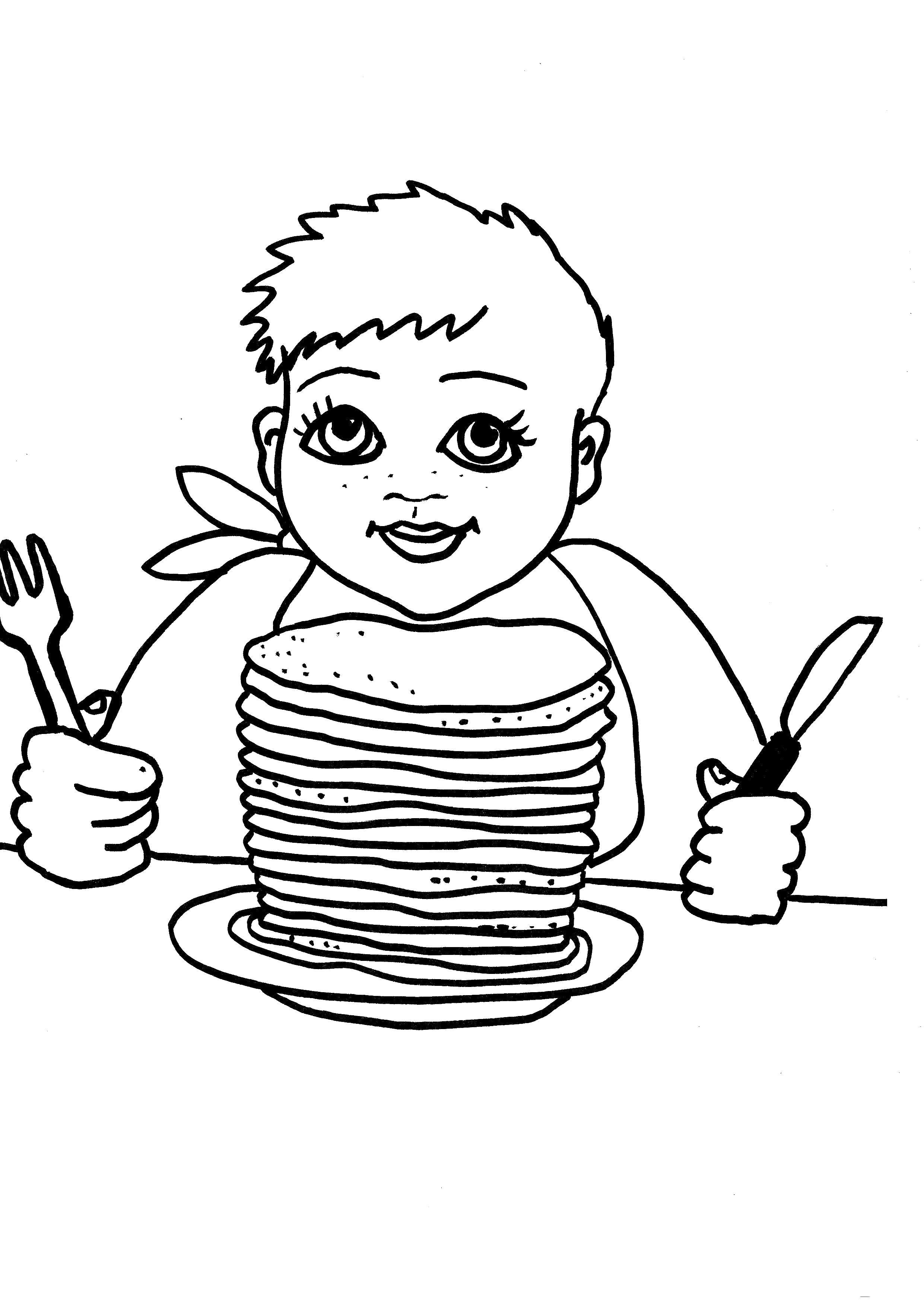 Раскраска  мальчик кушает блины. Скачать масленица.  Распечатать масленица