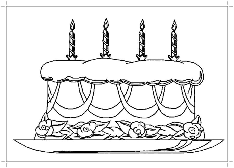Раскраска торт на день рождения. Скачать торт.  Распечатать еда