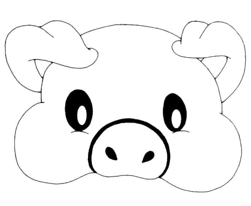 Раскраска маска мордочка свинюшки. Скачать маски.  Распечатать маски