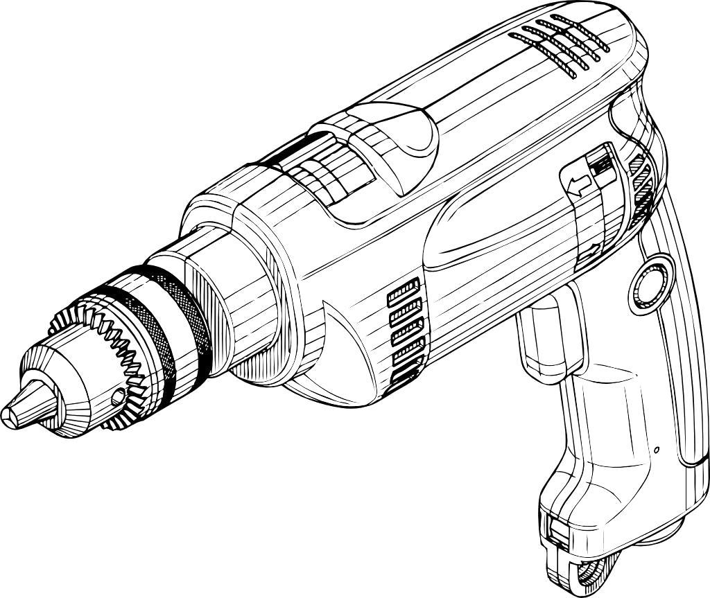 Раскраска строительный инструмент, дрель, . Скачать .  Распечатать