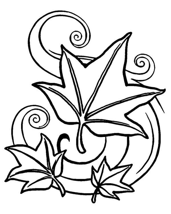 Раскраска Ветер разносит листья. Скачать .  Распечатать