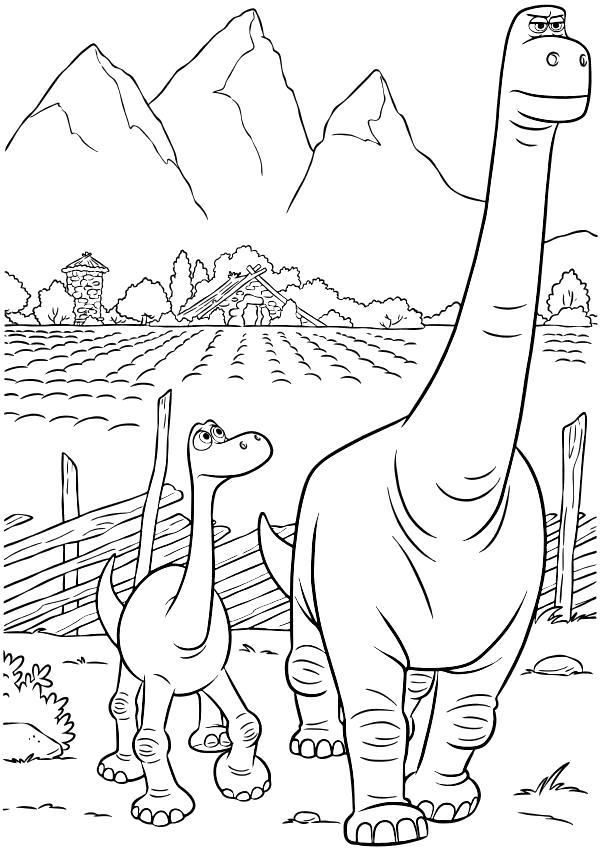 Раскраска  - Хороший динозавр - Арло с отцом идут на охоту. Скачать динозавр.  Распечатать динозавр