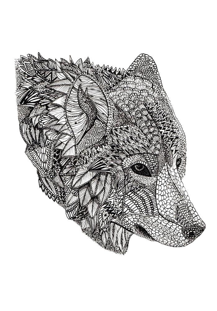 Раскраска  морды волка антистресс животные распечатать бесплатно формат а4. . Скачать волк.  Распечатать Дикие животные