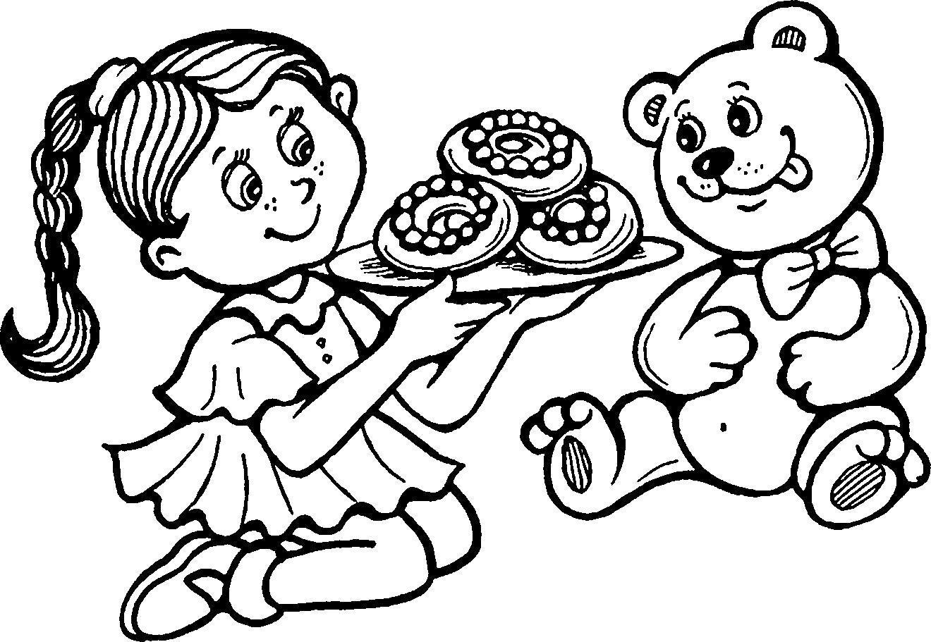 Раскраска Пончики для медвежонка. Скачать .  Распечатать