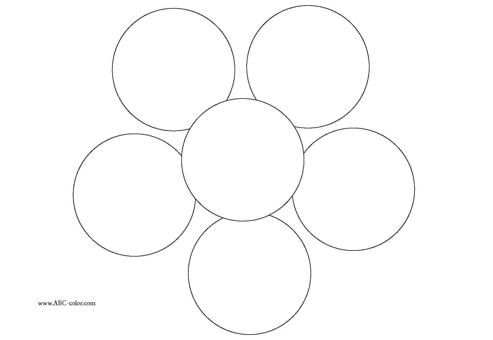 Раскраска цветок с кругов  аппликация. Скачать круг.  Распечатать геометрические фигуры