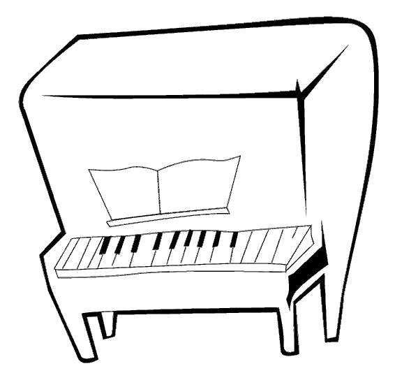 Раскраска Пианино . Скачать Пианино.  Распечатать Пианино