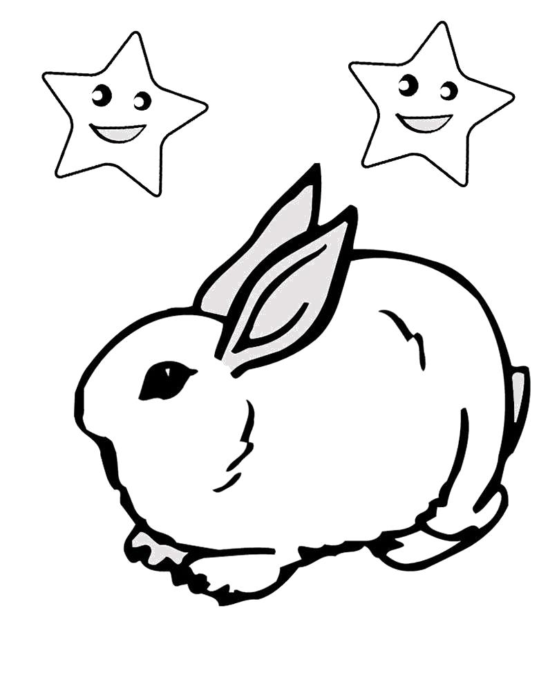 Раскраска  кролик со звездами. Скачать Кролик.  Распечатать Кролик