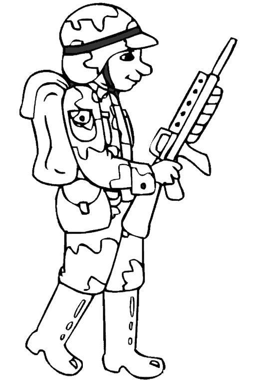Раскраска Солдатик. Скачать Солдат.  Распечатать Солдат