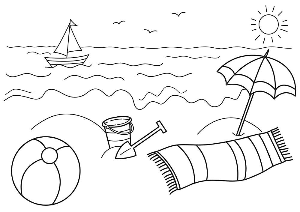 Раскраска море, корабль плывет, ведро и лопата, зонтик и шарф, мяч. Скачать Лето.  Распечатать Лето