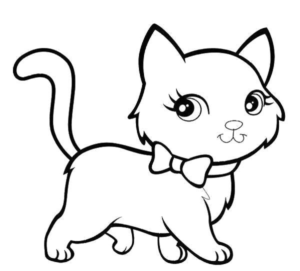 Раскраска кошка . Скачать кошка, Котенок.  Распечатать Домашние животные