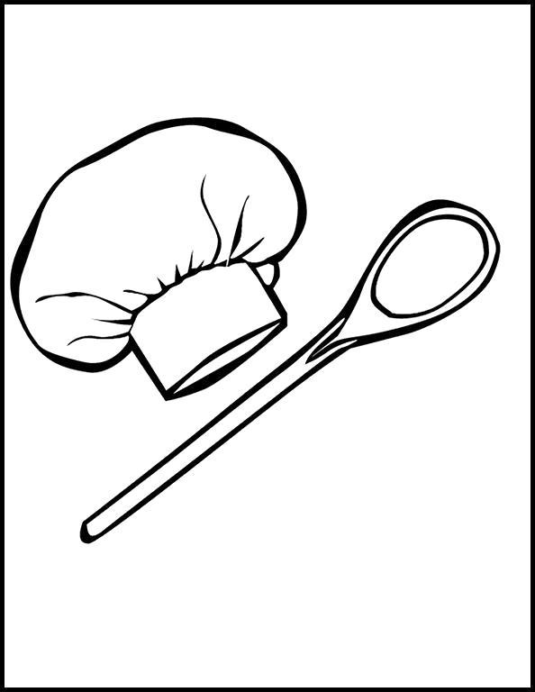 Раскраска Ложка и колпак повара. Скачать посуда.  Распечатать посуда