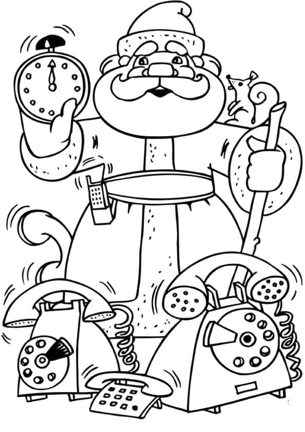 Раскраска Дед Мороз с телефоном. Скачать .  Распечатать Новый год