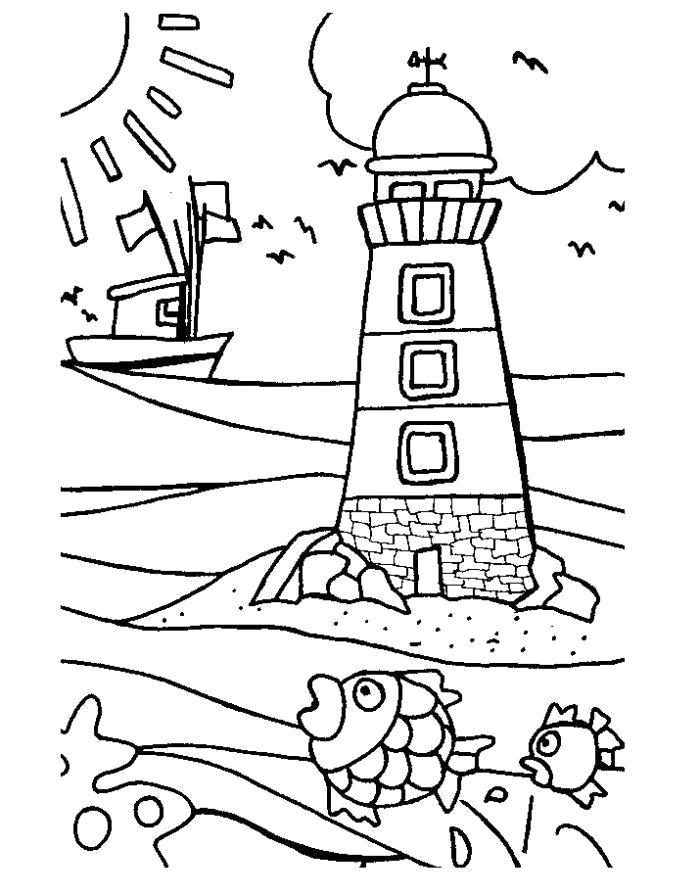 Раскраска  маяк. Скачать .  Распечатать