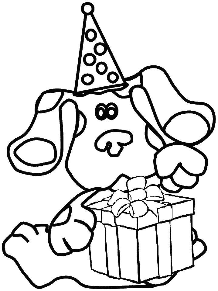 Раскраска щенок раскрывает подарок. Скачать Щенок.  Распечатать Домашние животные