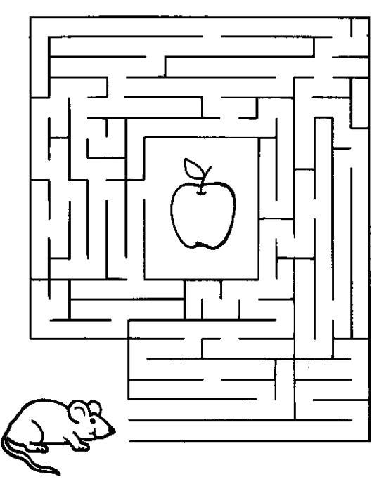Раскраска мышка и яблоко, лабиринт. Скачать лабиринт.  Распечатать лабиринт