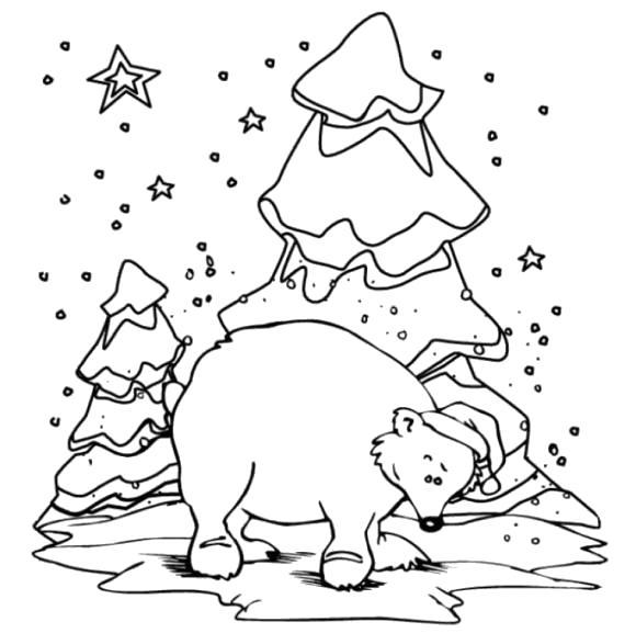 Раскраска Белый мишка. Скачать снег.  Распечатать снег
