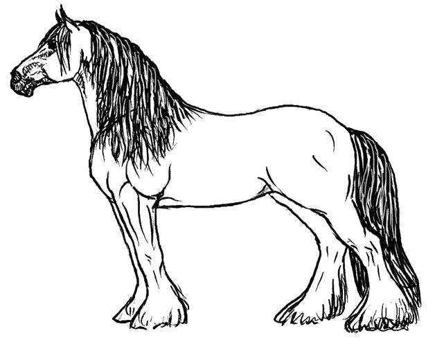 Раскраска  лошадь . Скачать Лошадь.  Распечатать Домашние животные
