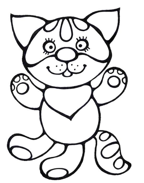 Раскраска маленький котенок. Скачать кот.  Распечатать Домашние животные