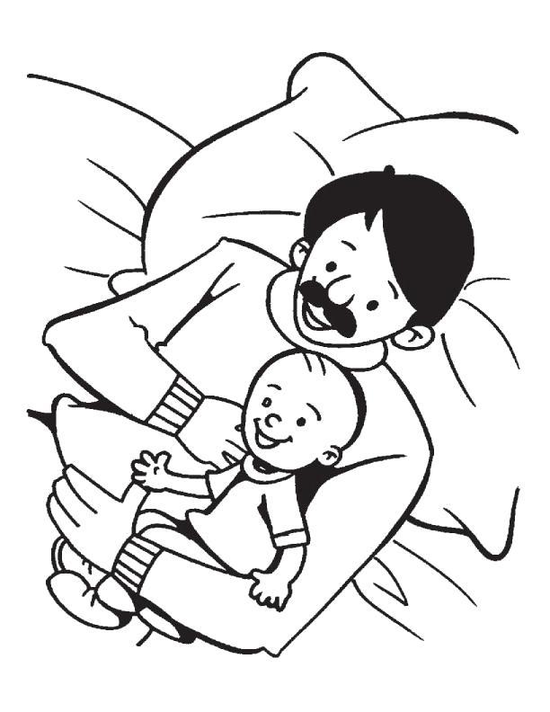 Раскраска Сын и отец. Скачать 23 февраля.  Распечатать 23 февраля