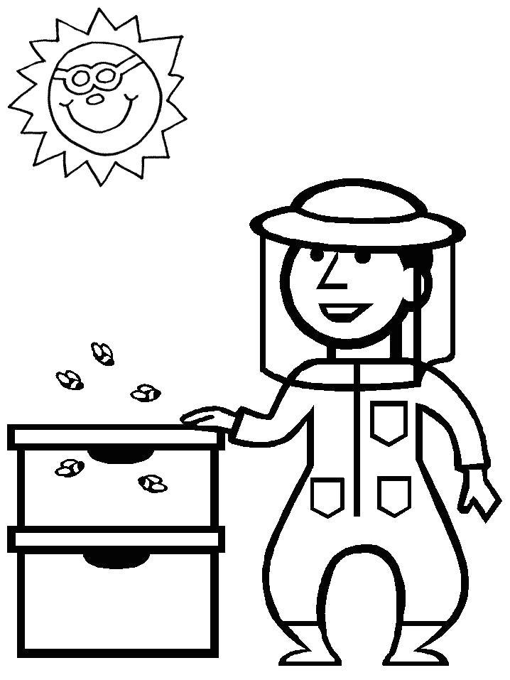 Раскраска  пчеловод. Улей и пчелы.. Скачать Пчела.  Распечатать Насекомые