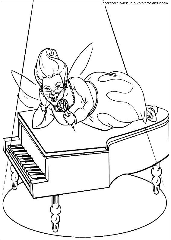 Раскраска  Фея Крестная.  Рояль, песня для молодоженов,  из мультфильма. Скачать фея.  Распечатать мифические существа