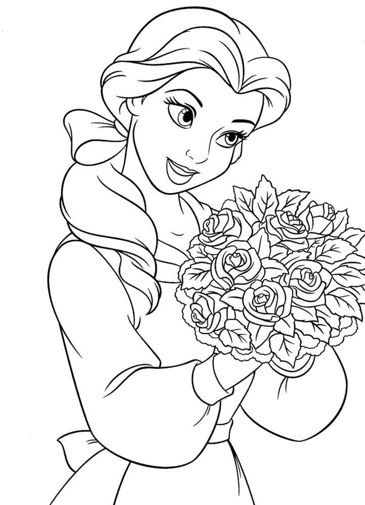 Раскраска  Дисней принцесса с букетом. Скачать .  Распечатать