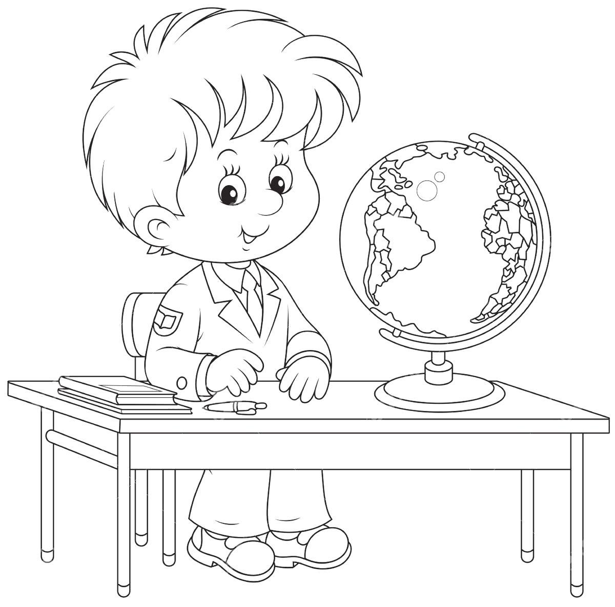 Раскраска Мальчик за школьной партой с глобусом. Скачать 1 сентября.  Распечатать 1 сентября