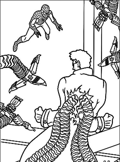 Раскраска Доктор Осьминог . Скачать .  Распечатать