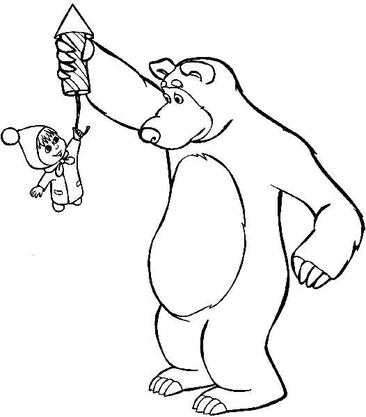 Раскраска . Скачать Маша и медведь.  Распечатать Маша и медведь