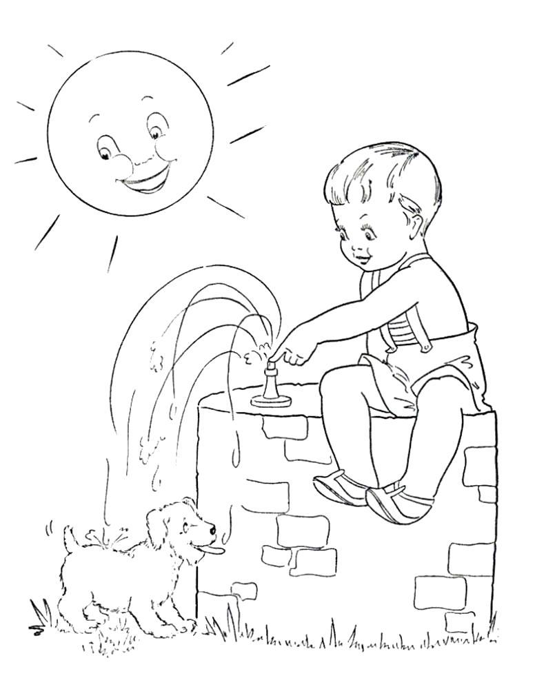Раскраска мальчик сидит на колонке, мальчик купает собачку, мальчик и собака, мальчик и щенок, мальчик поливает водой щенка, щенок купается. Скачать Лето.  Распечатать Лето