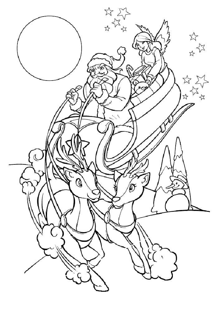 Раскраска  Санта Клаус на оленях. Скачать новогодние.  Распечатать новогодние