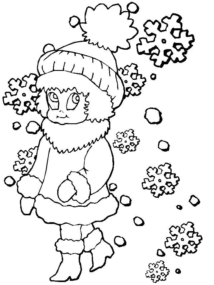 Раскраска Снегурочка. Скачать Зимние.  Распечатать Зимние