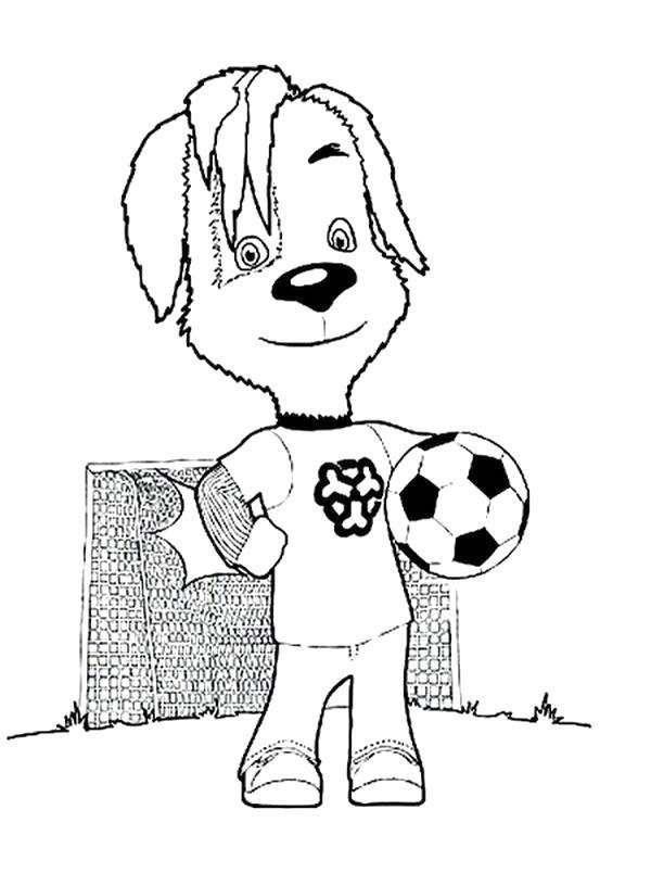 Раскраска Дружок играет с мячом, Дружок футболист. Скачать Барбоскины.  Распечатать Барбоскины