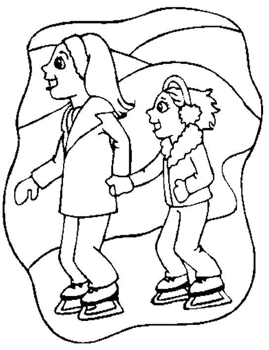Раскраска Катаемся на коньках. Скачать Фигурное катание.  Распечатать Фигурное катание
