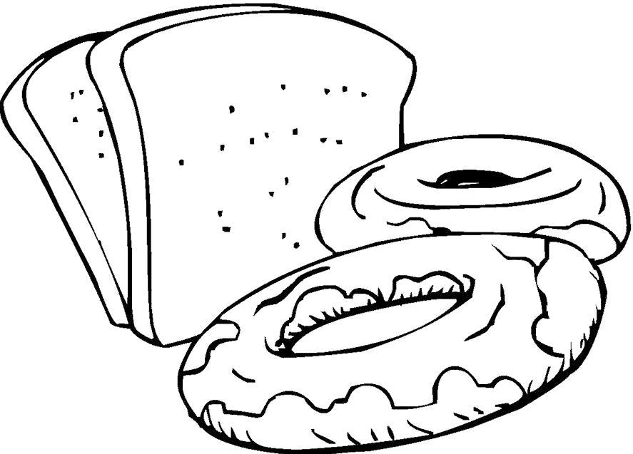 Раскраска Хлеб и пончики. Скачать хлеб.  Распечатать еда