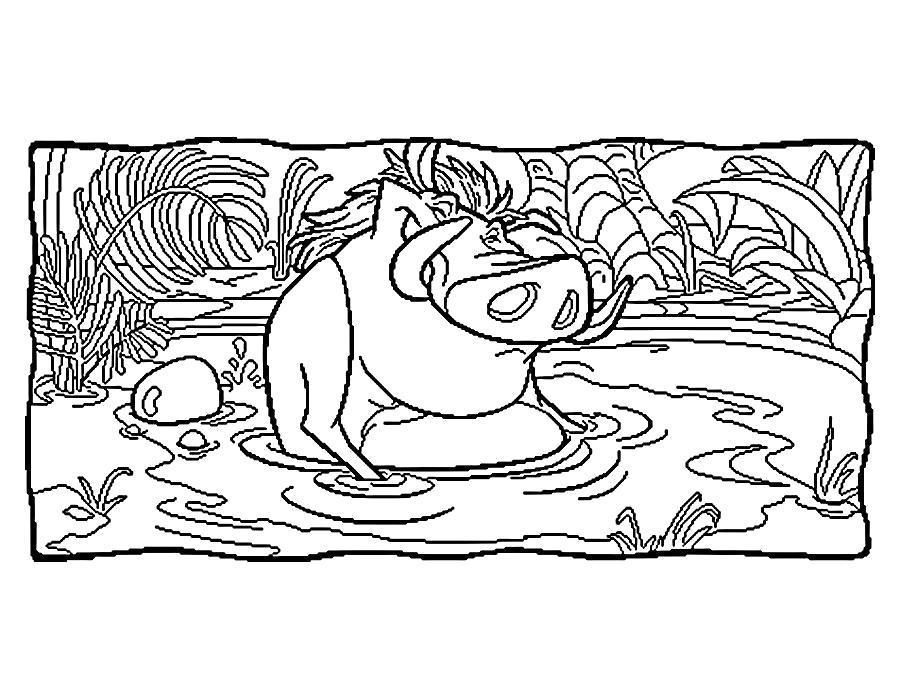 Раскраска Пумба в водоёме. Скачать .  Распечатать