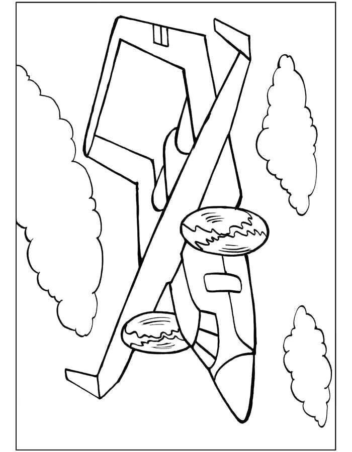 Раскраска Самолёт в воздухе. Скачать самолет.  Распечатать самолет