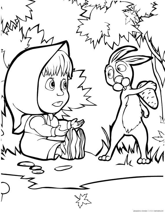 Раскраска Игры Маша и Медведь, заяц не отдает шишку, маша сидит на земле, маша и заяц. Скачать Маша и медведь.  Распечатать Маша и медведь