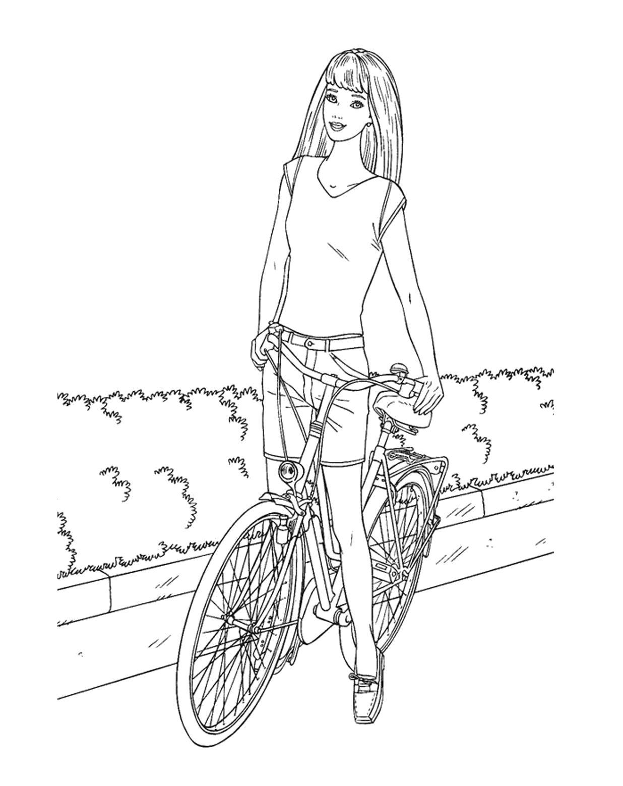 Раскраска  Барби на велосипеде. Скачать барби.  Распечатать барби